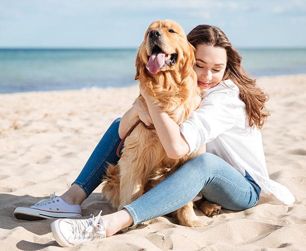 girl and golden retriever on beach